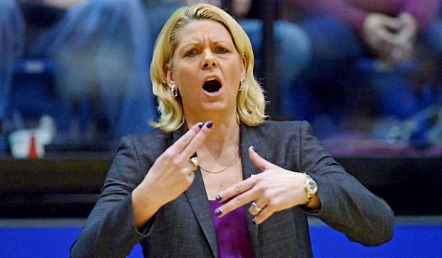 Gophers head coach Pam Borton signals to her team during their 70-62 loss to South Dakota State in a third round WNIT game at Frost Arena in Brookings, S.D. on Thursday, March 27, 2014. After 12 seasons as women's basketball coach at U-M, Borton was fired Friday following her fifth straight year missing the NCAA tournament. (AP Photo/Argus Leader, Elisha Page)
