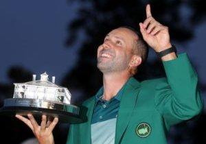 AUGUSTA, GA - APRIL 09:  Sergio Garcia of Spain celebrates with the Masters Trophy during the Green Jacket ceremony after he won in a playoff during the final round of the 2017 Masters Tournament at Augusta National Golf Club on April 9, 2017 in Augusta, Georgia.  (Photo by David Cannon/Getty Images)